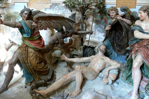 Victory of St. Francis over Lucifer's temptations (Sacro Monte, Orta, Chapel 10)