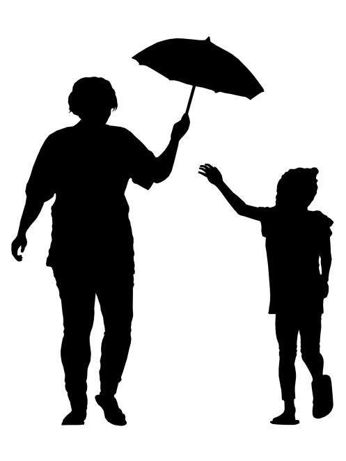 Mother & Daughter with Umbrella-Silhouette